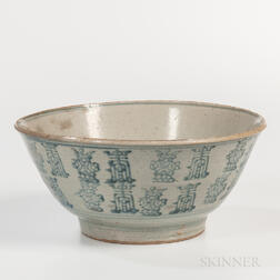 Large Blue and White Swatow Bowl