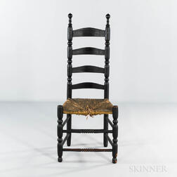 Black-painted Slat-back Side Chair
