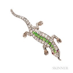 Antique Demantoid Garnet and Diamond Lizard Brooch