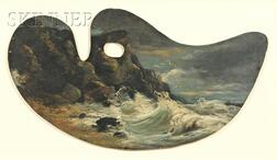 Gustave Courbet (French, 1819-1877)      Waves Crashing on a Rocky Shore/An Artist's Palette