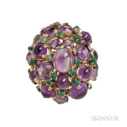 14kt Gold, Amethyst, and Malachite Ring