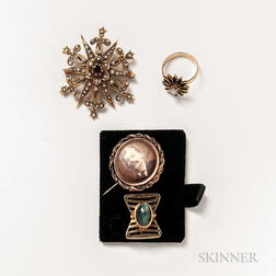 Three Antique Pins and a 14kt Gold, Enamel, and Diamond Ring