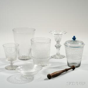 Six Blown Glass Table Items