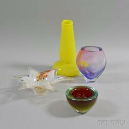 Murano Art Glass Bowl and Three Other Art Glass Vessels