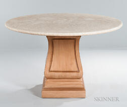 Travertine-top Pedestal Table