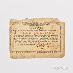1776 New York Water Works 4 Shilling Note, Fr. NY-196