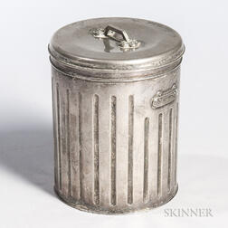 Miniature Silver-plate Garbage Can and Lid