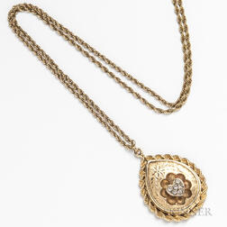 14kt Gold and Diamond Locket and Chain