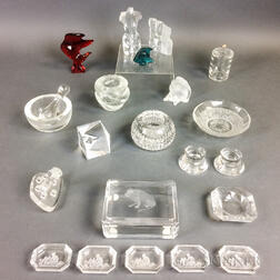 Twenty-two Small Mostly Colorless Glass Items