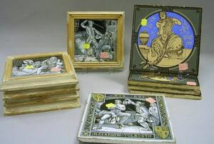 Ten Assorted Mintons Transfer Decorated Tiles