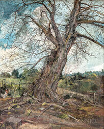 Charles Lewis Fussell (American, 1840-1909)    Majestic Tree with Chickens