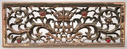 Carved and Pierced Polychrome Wood and Gesso Panel