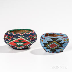 Two Mono Lake Paiute Beaded Baskets
