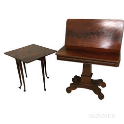 Empire Mahogany Veneer Card Table and an Edwardian Inlaid Mahogany Tuckaway Table.     Estimate $200-250