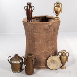 Collapsible Painted Canvas and Wood Rebekah Well, Five Urns, and aTambourine