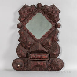 Elaborate Tramp Art Frame with Mirror