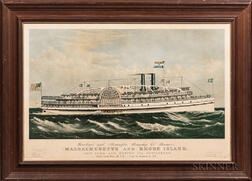 Large Folio Lithograph Providence and Stonington Steamship Co's. Steamers, Massachusetts and Rhode Island