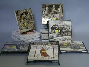 Eleven Wedgwood Transfer Decorated Tiles and Eight Mintons Transfer Decorated Tiles.