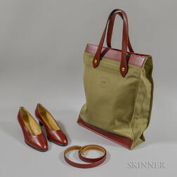 Hermes Canvas and Red Leather Tote, Red Leather Shoes, and Red Leather Belt