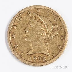 1903-S $5 Liberty Head Gold Coin