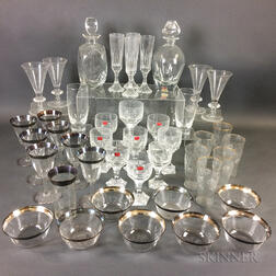 Forty-three Colorless Glass Tableware Items