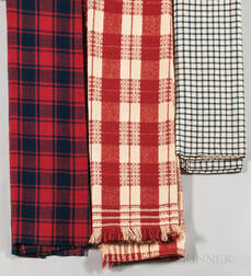 Three Woven Check Woolen Blankets