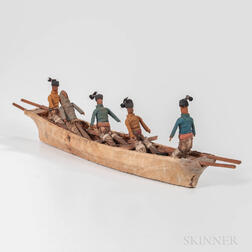 Greenland Model Kayak with Figures, Umiak