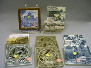 Nineteen Mintons Transfer Decorated Tiles