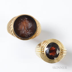 14kt Gold and Garnet Ring and a 10kt Gold Seal Ring