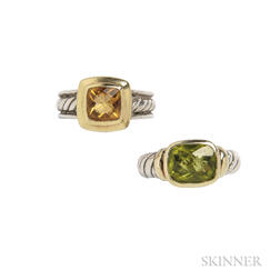 Two Sterling Silver and Gold Gem-set Rings, David Yurman