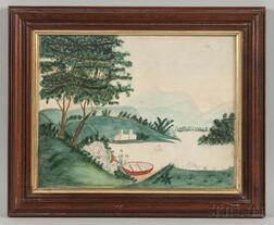 American School, 19th Century    Naive Landscape Scene with Boating Party