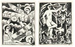 Natalia Sergeevna Goncharova (Russian, 1881-1962)      Two Studies for The Mystical Images of War :  Angels and Aeroplanes
