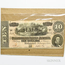 1864 $10 Confederate States of America Note, CS-68.     Estimate $20-30