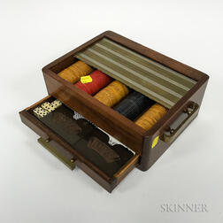 Art Moderne Brass-bound Mahogany Gaming Set