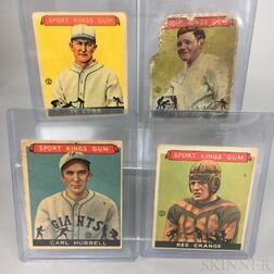 Two 1933 and a 1934 Indian Sport Kings Gum Babe Ruth, Carl Hubbell, and Red Grange Baseball and Football Cards