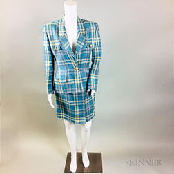 Oscar de la Renta Blue Plaid Suit