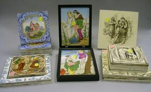 Twenty Assorted Wedgwood and Mintons Transfer Decorated Tiles