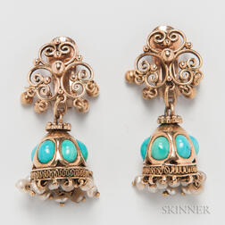 14kt Gold and Turquoise Earclips