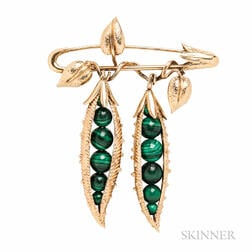 """18kt Gold and Malachite """"Peapod"""" Brooch, Schlumberger, Tiffany & Co."""