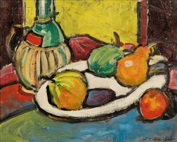 Harold C. Wolcott  (American, 1898-1977)      Still Life with Fruit and Pitcher