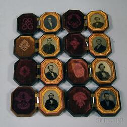 Eight Ninth-plate Portraits of Gentlemen in Thermoplastic Union Cases