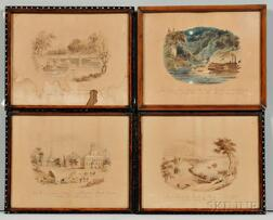 Four Framed Pen and Ink Wash Drawings of Southern Scenes