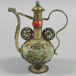 White Metal and Hardstone Ewer and Cover