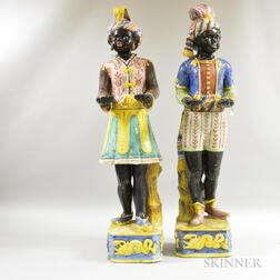 Pair of Continental Terra-cotta Blackamoor Figures