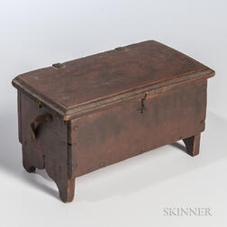 Miniature Red-painted Cherry Six-board Chest