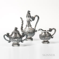Three-piece Chinese Export Silver Coffee Service