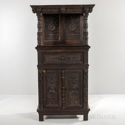 Jacobean-style Carved Oak Cupboard