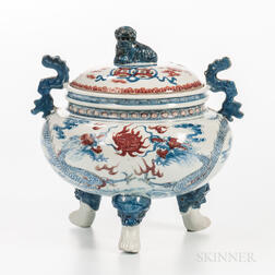 Iron Red-decorated Blue and White Porcelain Tripod Censer and Cover