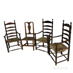Three Painted Ladder-back Armchairs and a Queen Anne Maple Side Chair.     Estimate $200-250