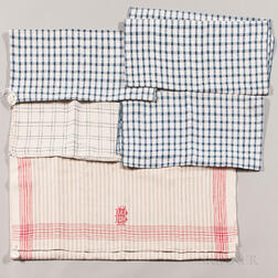Six Checked Linen Textile Items
